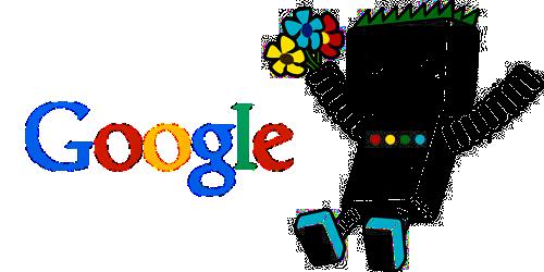 Illustration Référencement site web par un petit robot Google tenant un bouquet de fleur | Jsell.fr
